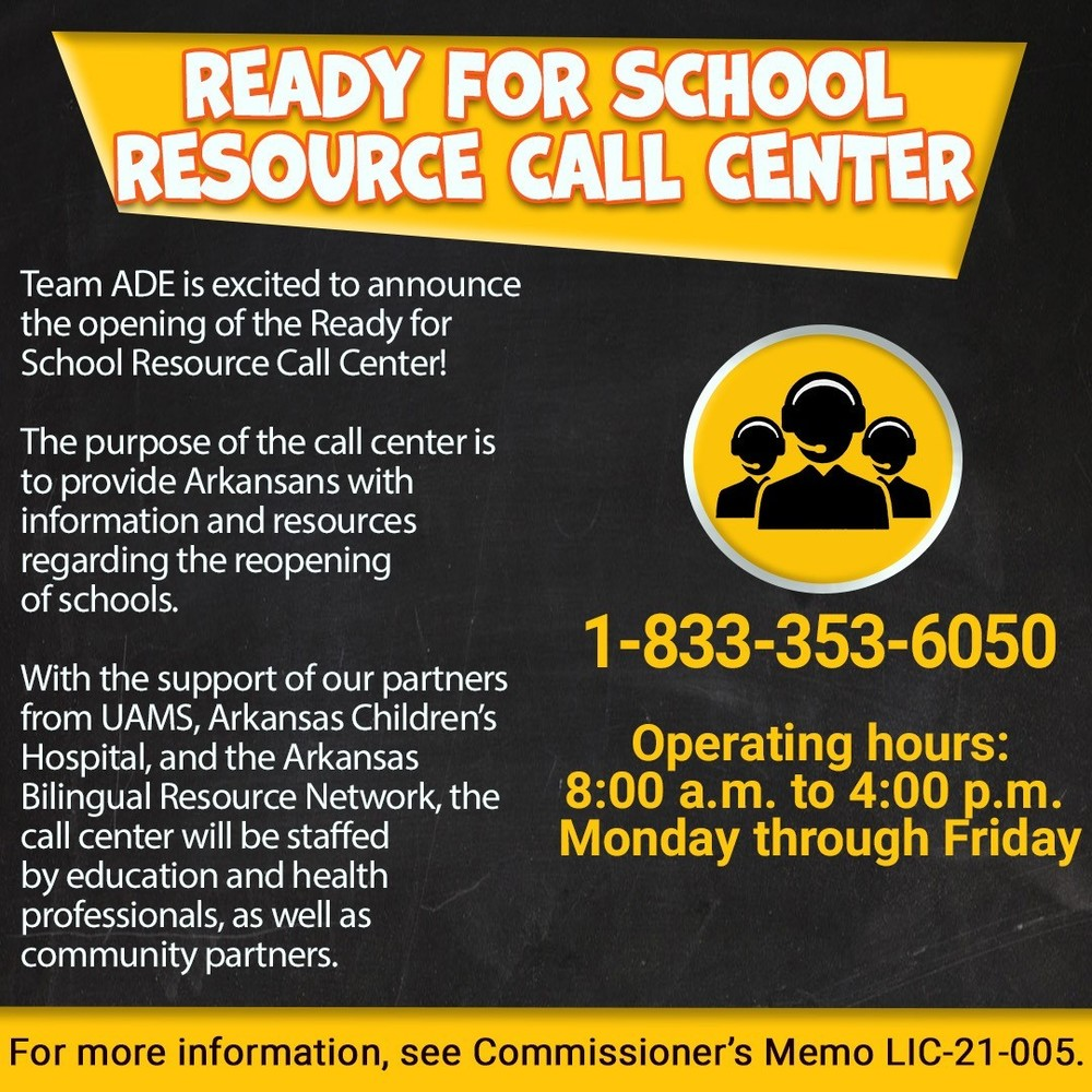 Ready for School Resource Call Center
