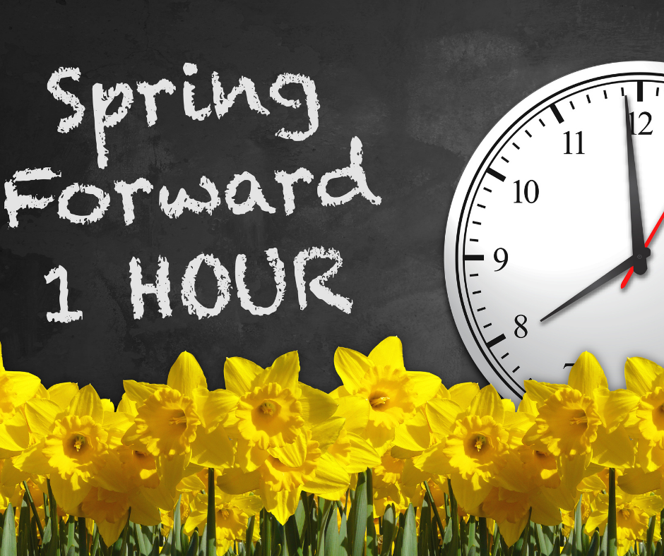 daffodils and a clock